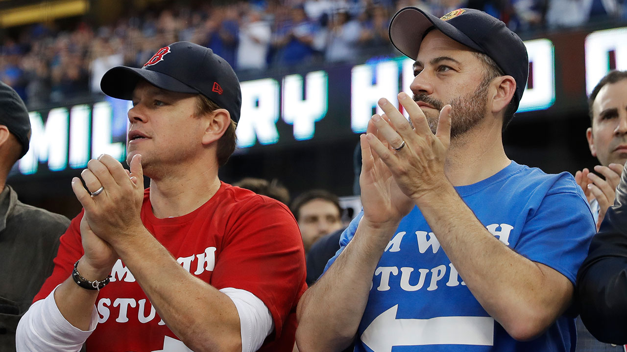 <div class='meta'><div class='origin-logo' data-origin='AP'></div><span class='caption-text' data-credit='AP Photo/David J. Phillip'>Actor Matt Damon and talk show host Jimmy Kimmel watch Game 5 of the World Series between the Boston Red Sox and Los Angeles Dodgers on Sunday, Oct. 28, 2018, in Los Angeles.</span></div>