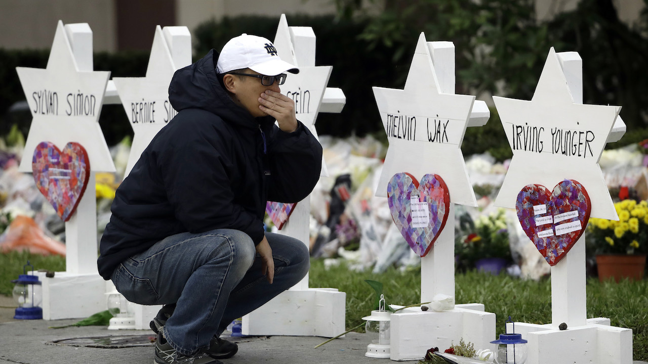 "<div class=""meta image-caption""><div class=""origin-logo origin-image ap""><span>AP</span></div><span class=""caption-text"">A person pauses in front of Stars of David with the names of those killed in a deadly shooting at the Tree of Life Synagogue, in Pittsburgh, Monday, Oct. 29, 2018. (AP Photo/Matt Rourke)</span></div>"