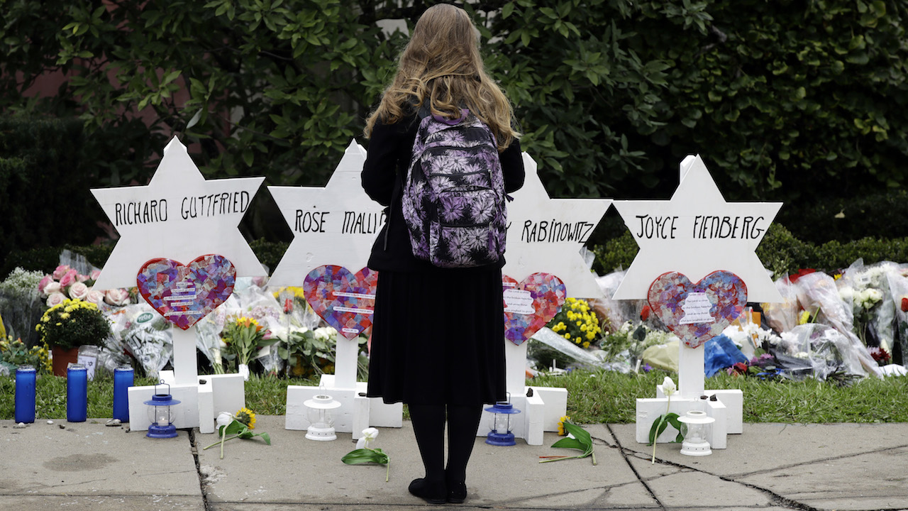 "<div class=""meta image-caption""><div class=""origin-logo origin-image ap""><span>AP</span></div><span class=""caption-text"">A person stands in front of Stars of David that are displayed in front of the Tree of Life Synagogue with the names of those killed in Saturday's deadly shooting. (AP Photo/Matt Rourke)</span></div>"