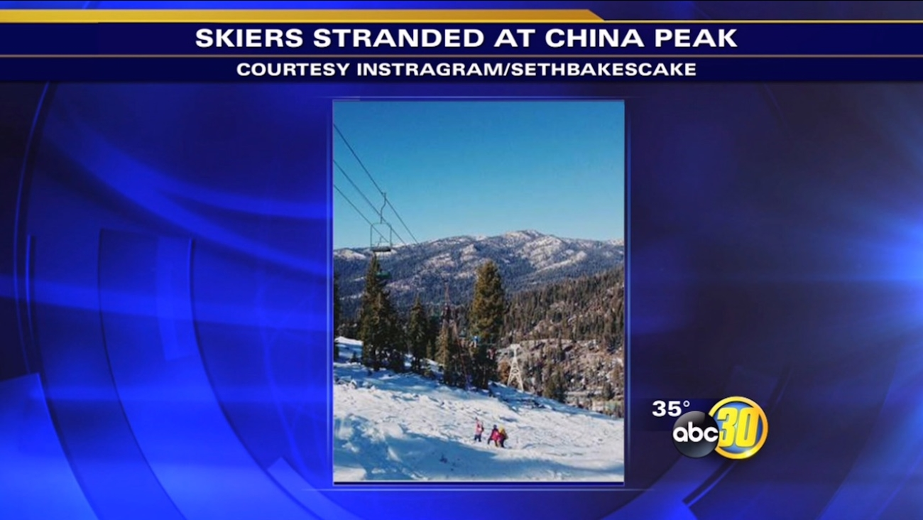 Skiers stranded on China Peak chairlift