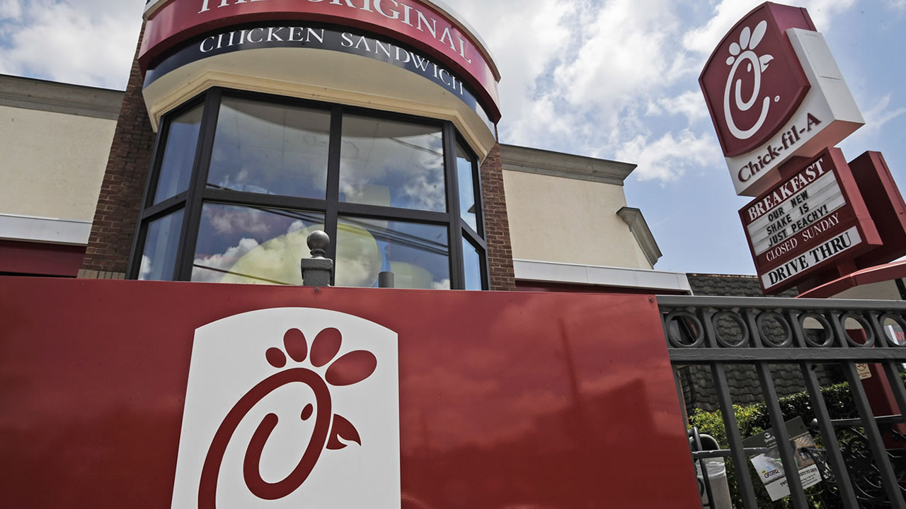 File photo shows a Chick-fil-A fast food restaurant in Atlanta. (AP Photo/Mike Stewart)