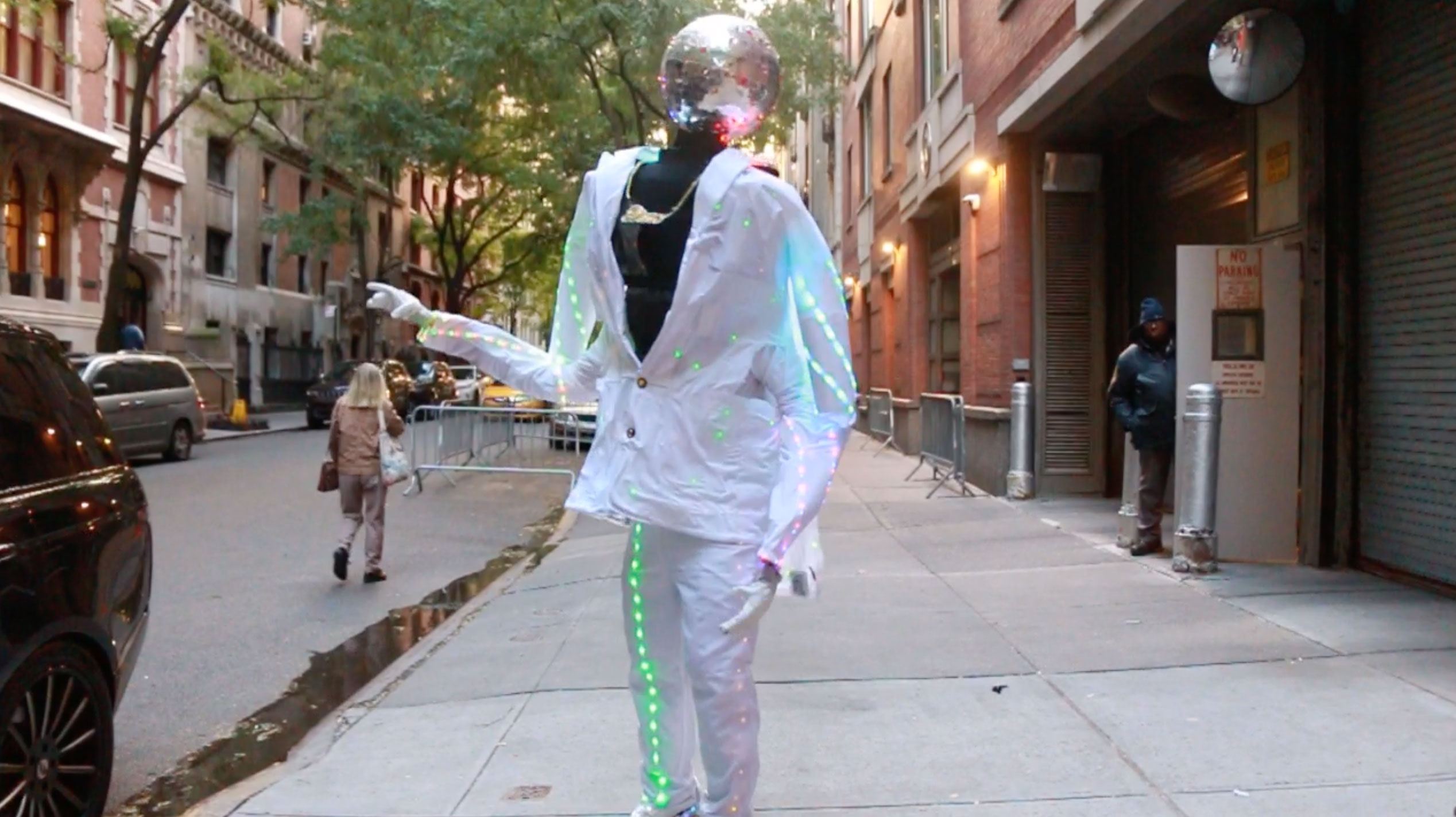 <div class='meta'><div class='origin-logo' data-origin='none'></div><span class='caption-text' data-credit=''>One man created a disco-themed costume with built-in throwback music.</span></div>