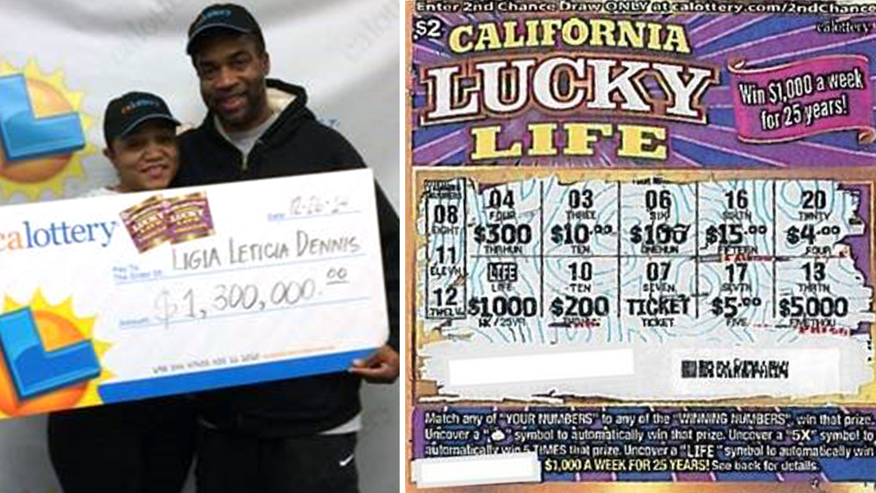 Ligia Dennis, 26, and fiancé Tim Ballany hold a giant check for $1.3 million (left). Dennis' winning lotto scratcher (right).