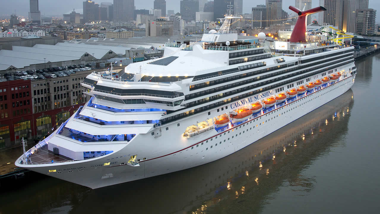 The Carnival Sunshine is docked at the Port of New Orleans early Monday, Nov. 18, 2013, in New Orleans, La. (AP Photo/Carnival Cruise Lines, Andy Newman)