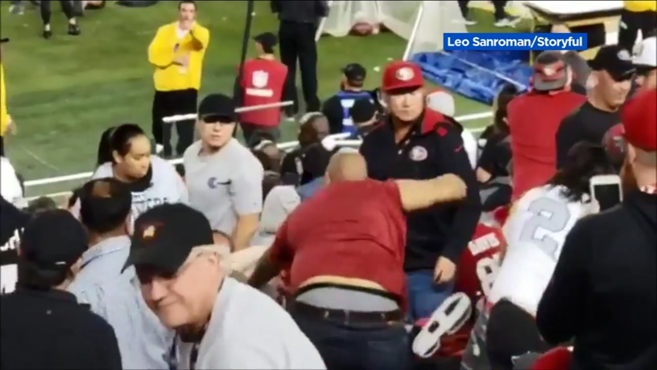 police break up several brutal fan fights during raiders 49ers game