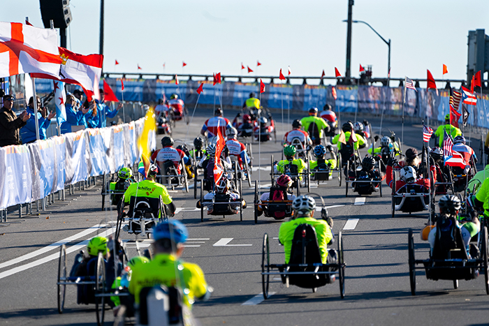 <div class='meta'><div class='origin-logo' data-origin='AP'></div><span class='caption-text' data-credit='(AP Photo/Craig Ruttle)'>Competitors in the handcycle division leave the starting line during the New York City Marathon on Sunday, Nov. 4, 2018, in New York.</span></div>
