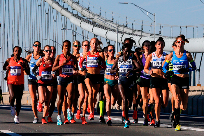 <div class='meta'><div class='origin-logo' data-origin='AP'></div><span class='caption-text' data-credit='(AP Photo/Eduardo Munoz Alvarez)'>Elite women runners cross the Verrazano-Narrows Bridge during the New York City Marathon on Sunday, Nov. 4, 2018, in New York.</span></div>