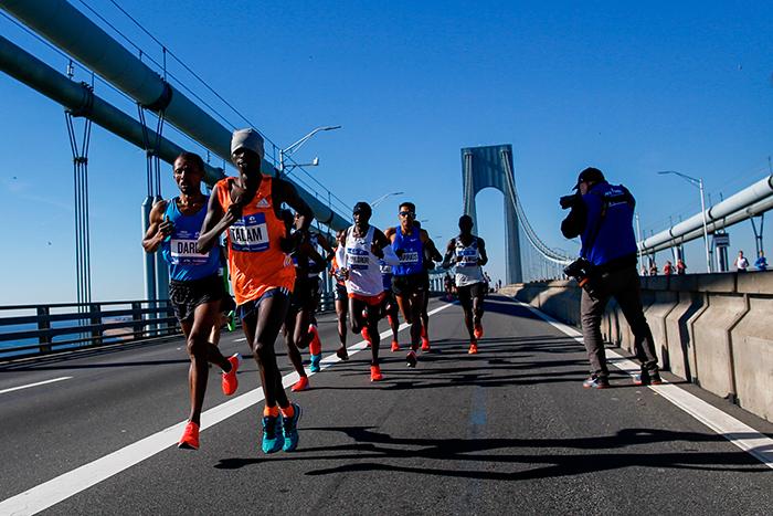 <div class='meta'><div class='origin-logo' data-origin='AP'></div><span class='caption-text' data-credit='(AP Photo/Eduardo Munoz Alvarez)'>Elite men runners cross the Verrazano-Narrows Bridge during the New York City Marathon on Sunday, Nov. 4, 2018, in New York.</span></div>