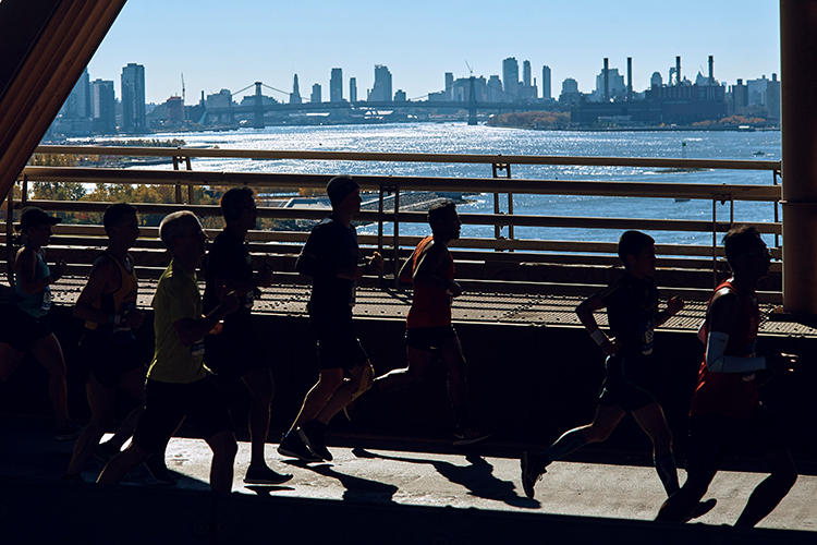 <div class='meta'><div class='origin-logo' data-origin='AP'></div><span class='caption-text' data-credit='(AP Photo/Andres Kudacki)'>Runners cross the Queensboro bridge during the New York City Marathon in New York, Sunday, Nov. 4, 2018.</span></div>