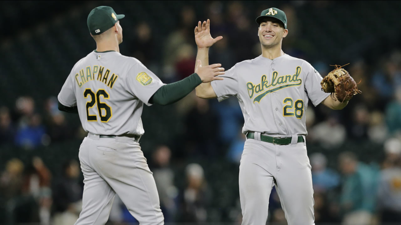 timeless design 09f0a cacd2 Oakland Athletics' Olson, Chapman are Gold Glove winners ...