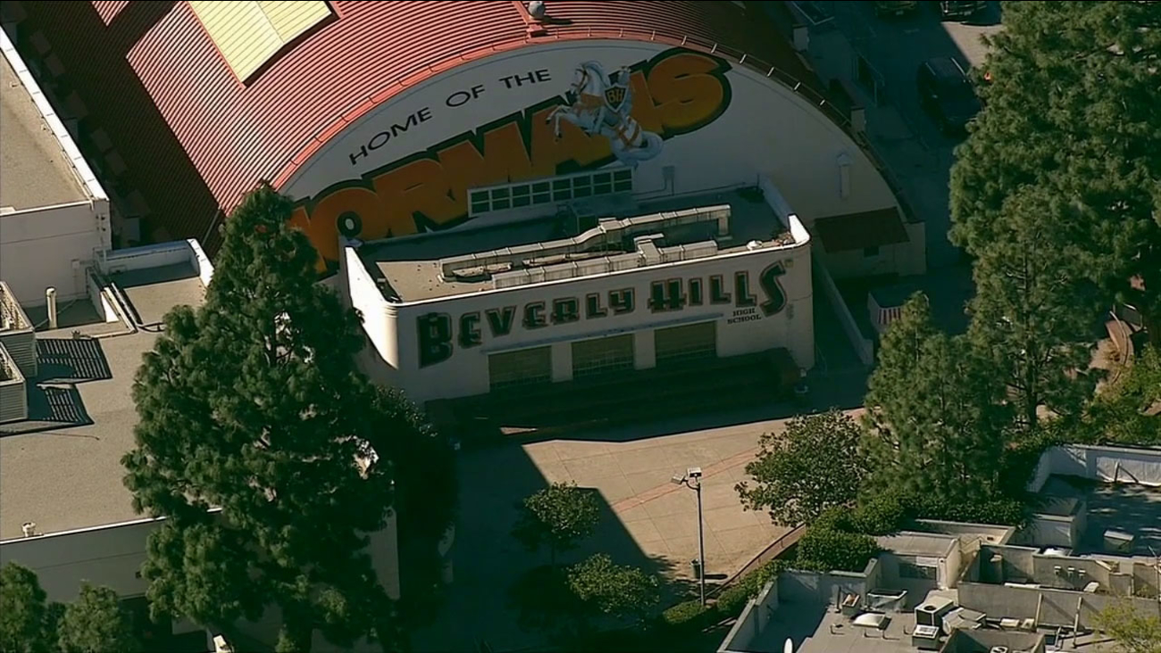 Beverly Hills High School is seen on Monday, Jan. 5, 2015, in this shot from AIR7 HD.