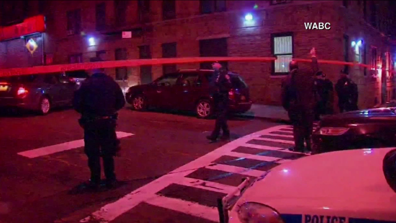Two New York Police Department officers were shot at East 184th Street and Tiebout Avenue in the Fordham section of the Bronx in New York Monday, Jan. 5, 2015.