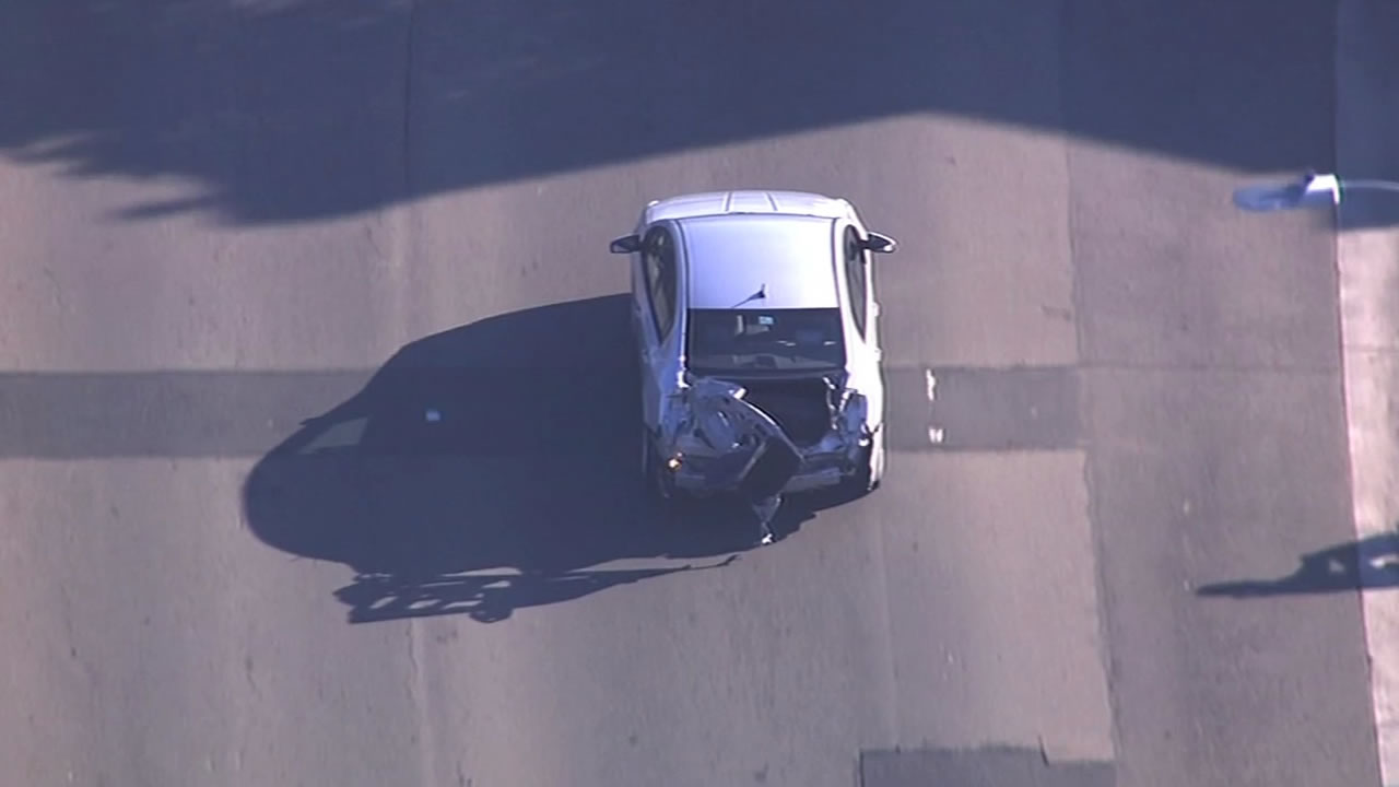 SKY7HD spotted the driver whose car was clippled by an Amtrak train as he drove away from the scene.