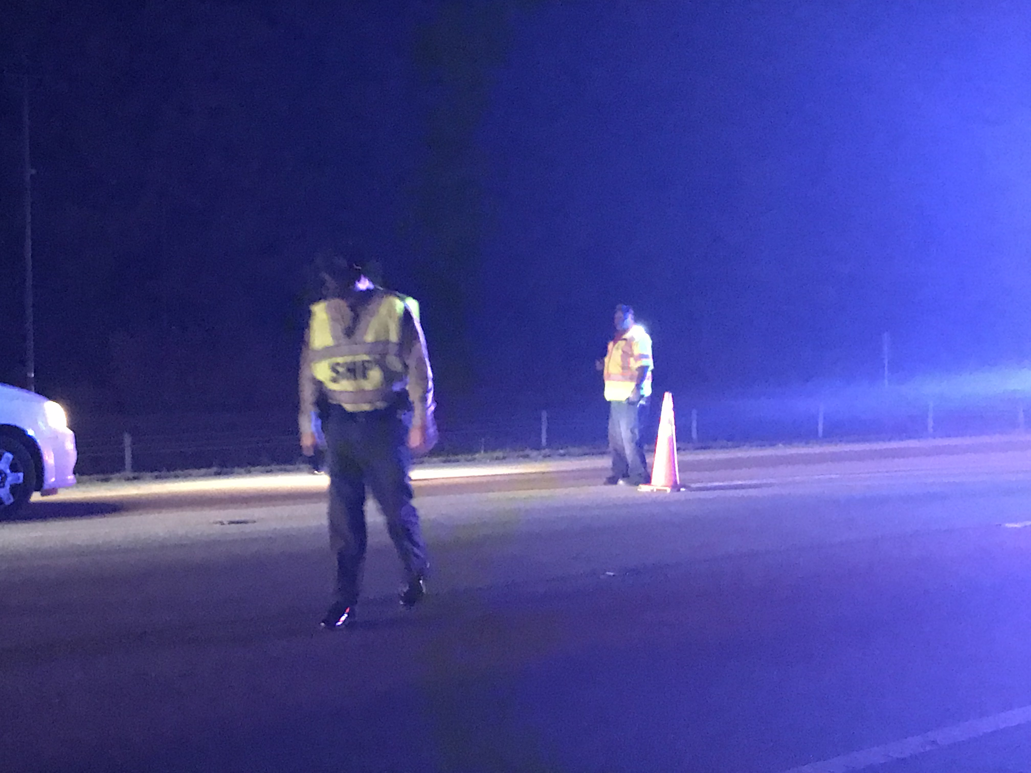 <div class='meta'><div class='origin-logo' data-origin='WTVD'></div><span class='caption-text' data-credit='Robert Judson'>Troopers investigate after a woman was struck and killed on 540 near the Leesville Road exit on Wednesday night.</span></div>