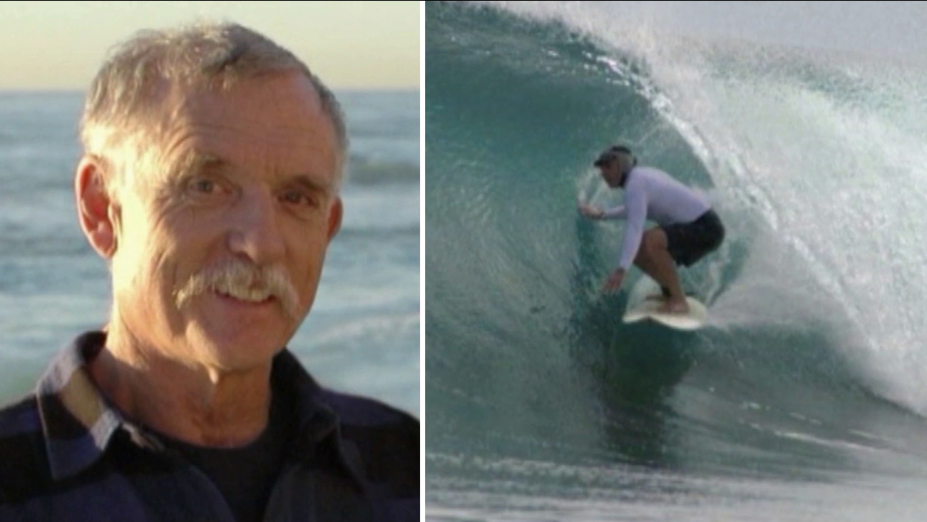 San Diego surfer Barry Ault, 71, shown above, died from a staph infection possibly caused by storm runoff bacteria in the ocean.