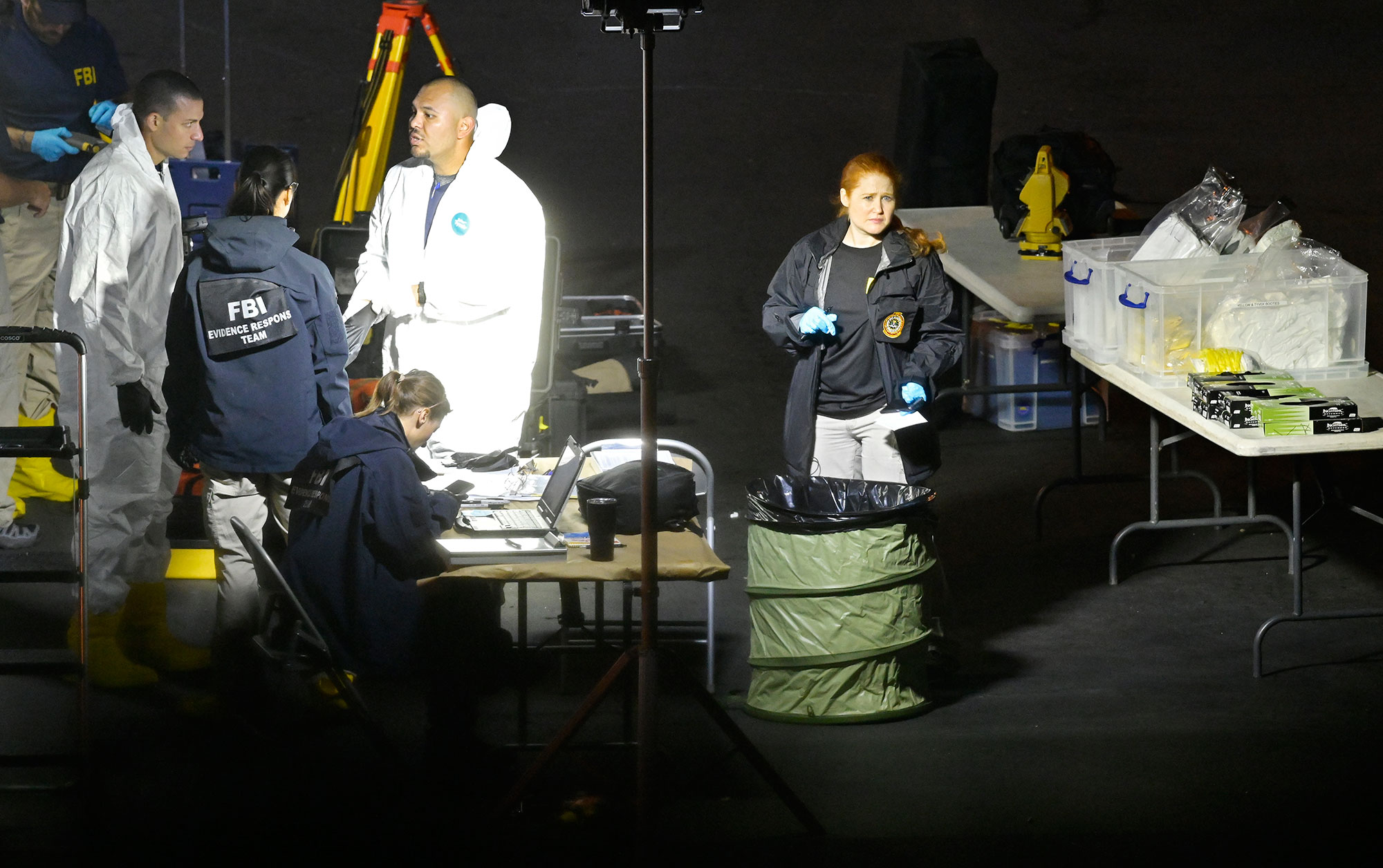 <div class='meta'><div class='origin-logo' data-origin='none'></div><span class='caption-text' data-credit='Mark J. Terrill/AP Photo'>A forensics team gets ready work the scene Thursday, Nov. 8, 2018, in Thousand Oaks, Calif.</span></div>