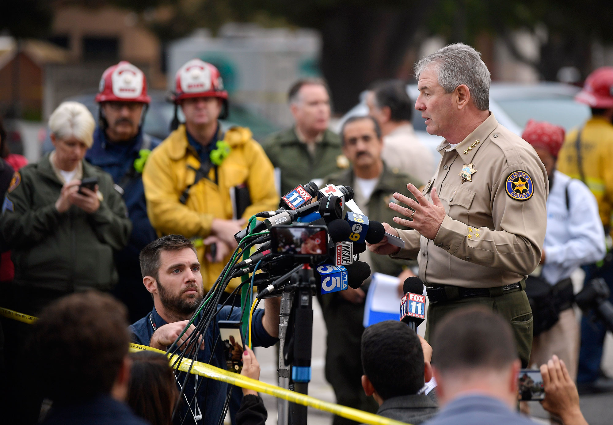 "<div class=""meta image-caption""><div class=""origin-logo origin-image none""><span>none</span></div><span class=""caption-text"">Ventura County Sheriff Geoff Dean speaks to reporters near the scene in Thousand Oaks, Calif., on Thursday, Nov. 8, 2018. (Mark J. Terrill/AP Photo)</span></div>"