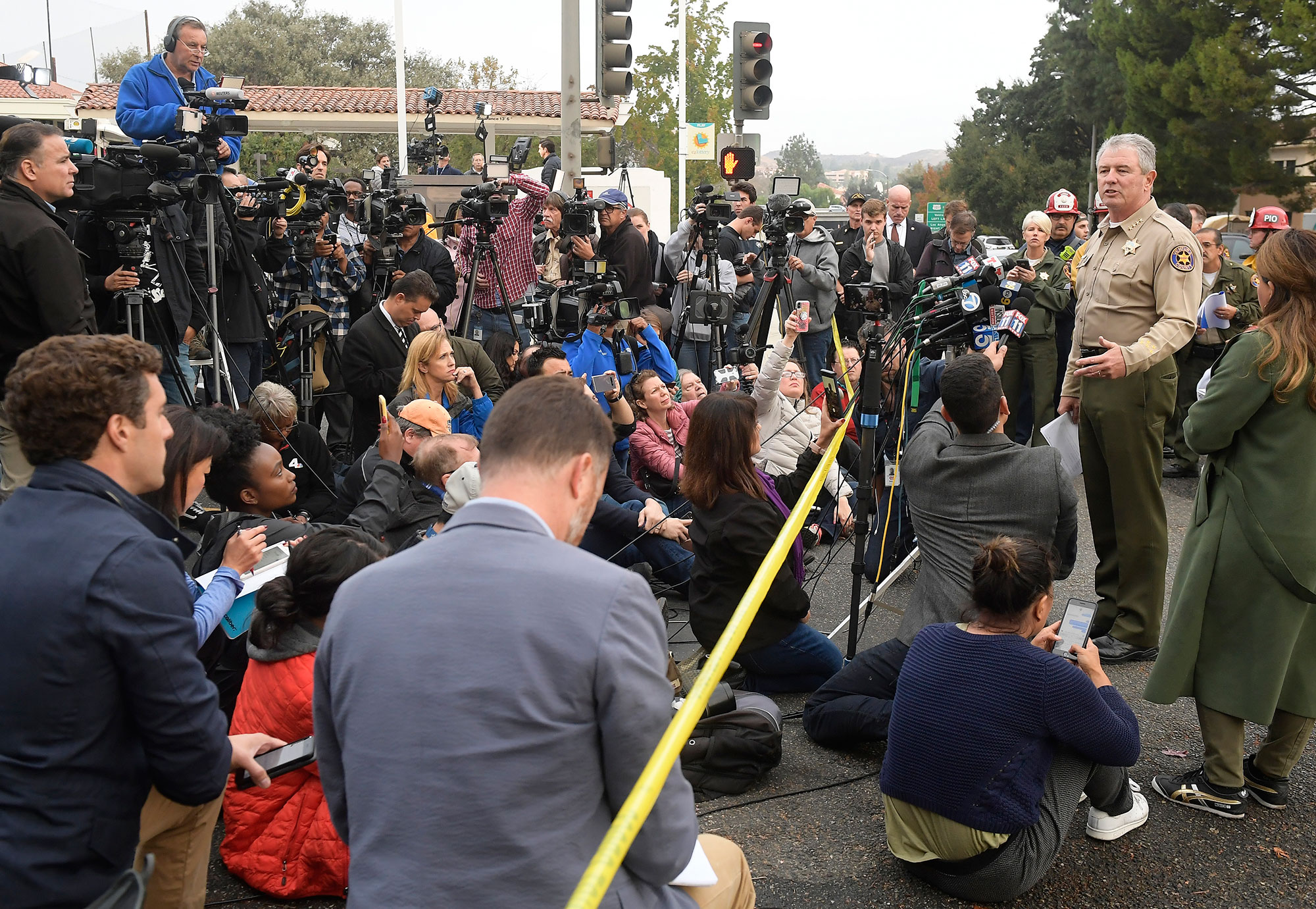 <div class='meta'><div class='origin-logo' data-origin='none'></div><span class='caption-text' data-credit='Mark J. Terrill/AP Photo'>Ventura County Sheriff Geoff Dean speaks to reporters near the scene in Thousand Oaks, Calif., on Thursday, Nov. 8, 2018.</span></div>