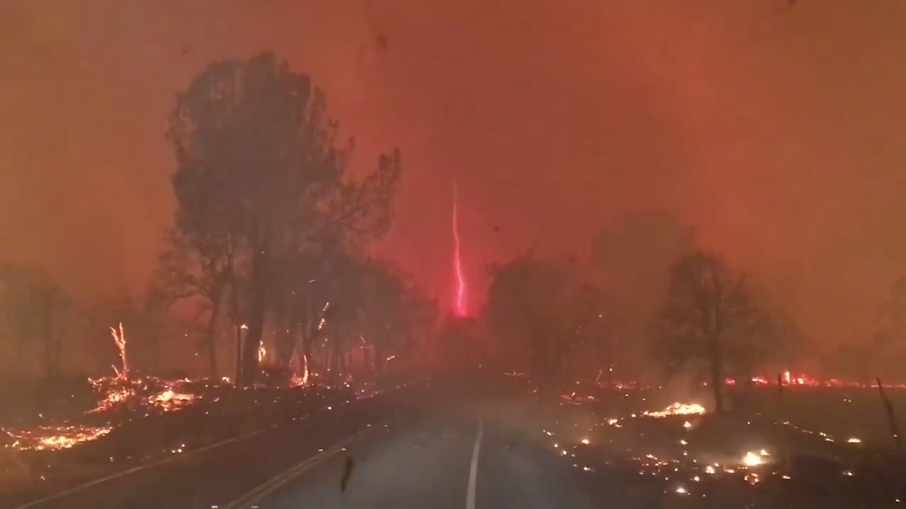 VIDEO Aerial view of devastating Camp Fire in Butte County