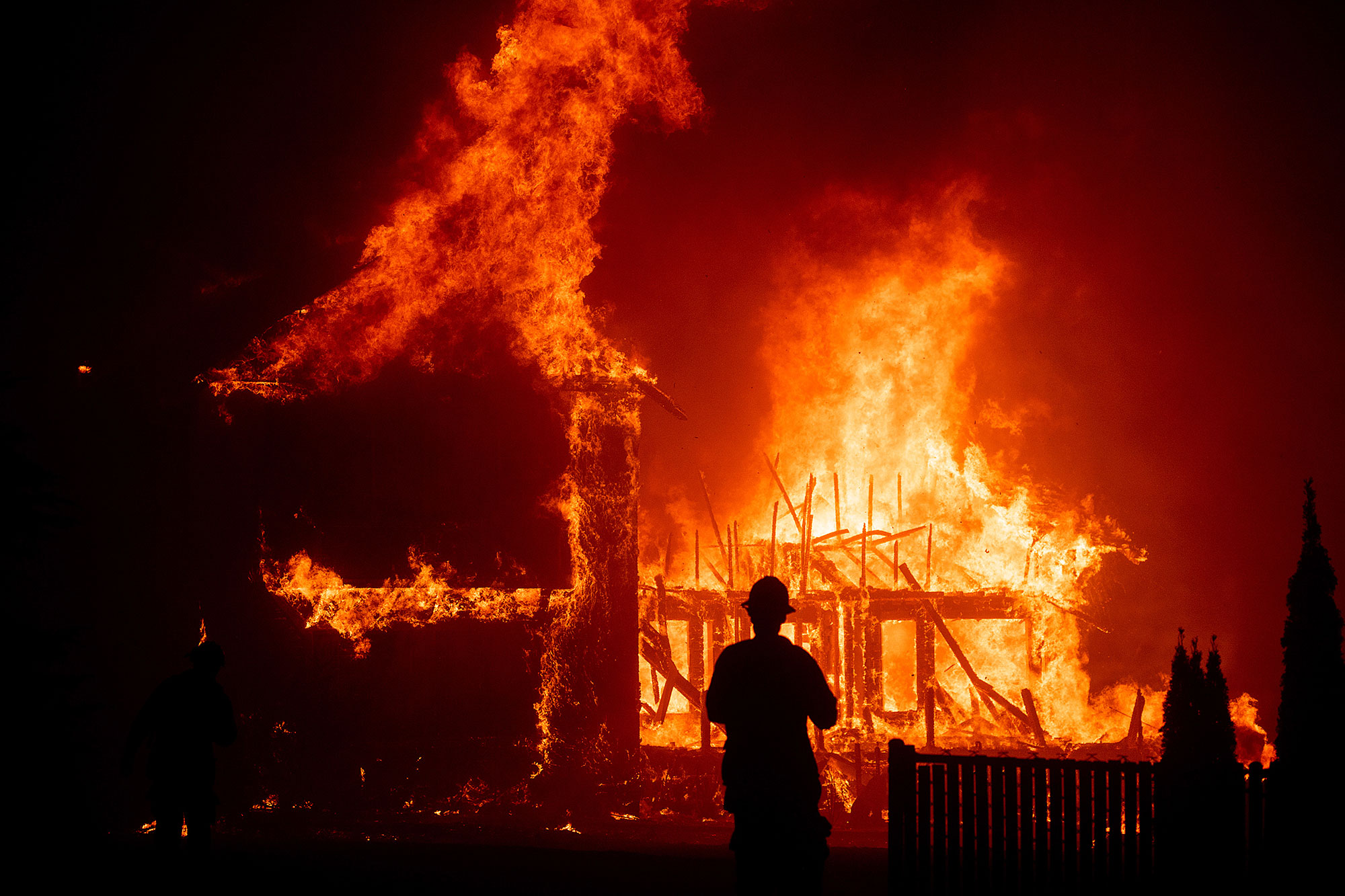 <div class='meta'><div class='origin-logo' data-origin='none'></div><span class='caption-text' data-credit='Noah Berger/AP Photo'>A home burns as the Camp Fire rages through Paradise, Calif., on Thursday, Nov. 8, 2018.</span></div>