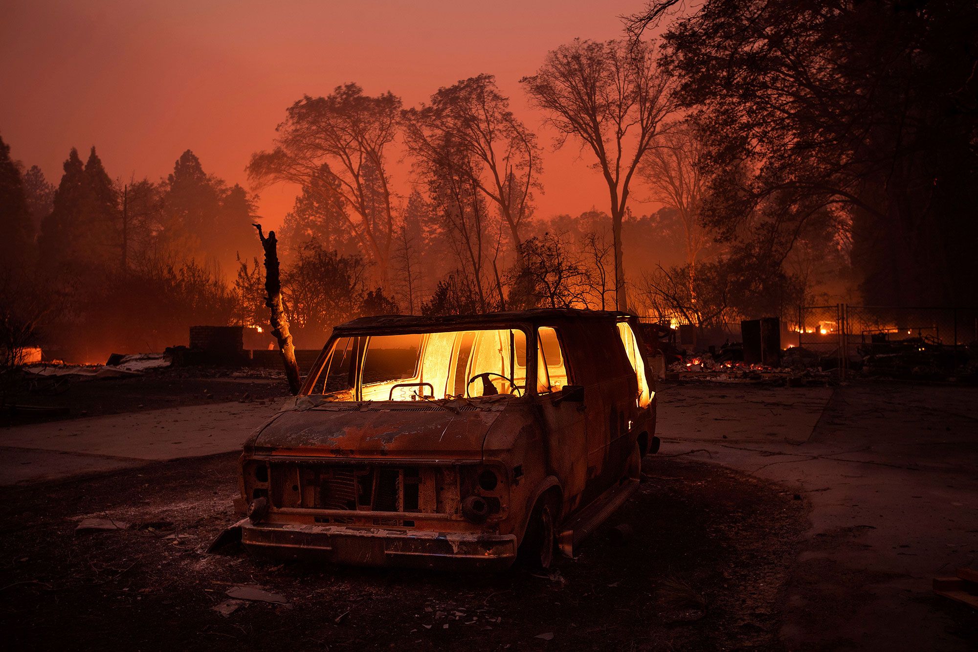 <div class='meta'><div class='origin-logo' data-origin='none'></div><span class='caption-text' data-credit='Noah Berger/AP Photo'>Flames burn inside a van as the Camp Fire tears through Paradise, Calif., on Thursday, Nov. 8, 2018.</span></div>