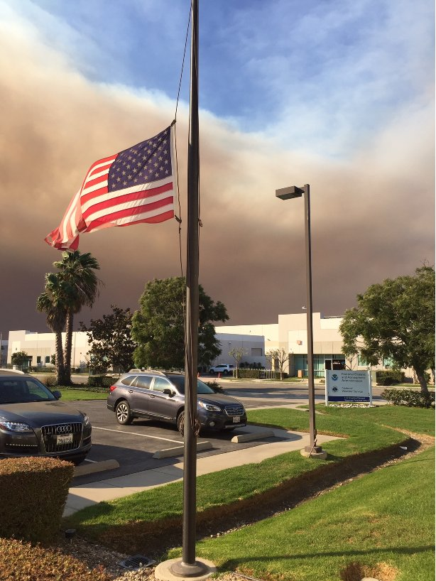 <div class='meta'><div class='origin-logo' data-origin='none'></div><span class='caption-text' data-credit='NWSLosAngeles/Twitter'>Smoke from the Hill Fire and the Woolsey Fire could be seen from the National Weather Service in Oxnard, California, the office posted on Friday.</span></div>