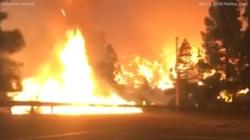VIDEO: Woman drives through flames to flee Malibu wildfire
