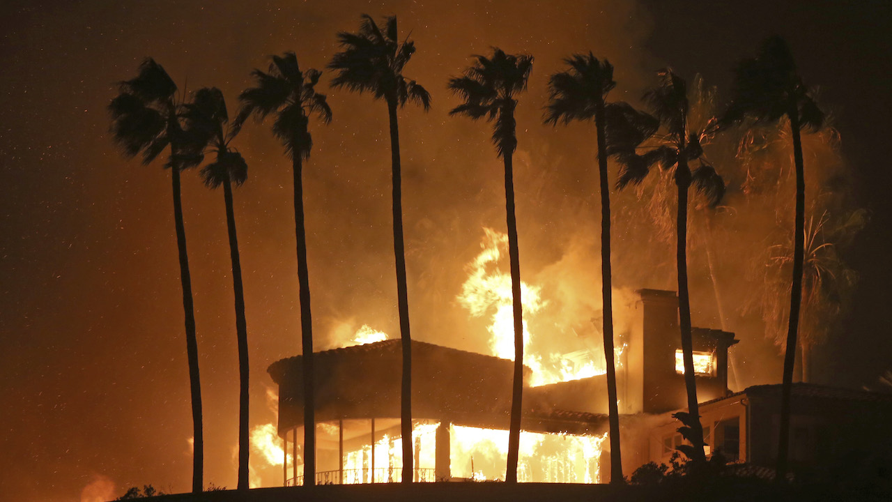 <div class='meta'><div class='origin-logo' data-origin='AP'></div><span class='caption-text' data-credit='AP Photo/Reed Saxon'>Palm trees frame a home being destroyed by a wildfire above Pacific Coast Highway in Malibu, Calif., Friday, Nov. 9, 2018.</span></div>