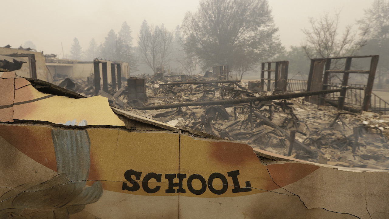 <div class='meta'><div class='origin-logo' data-origin='AP'></div><span class='caption-text' data-credit='AP Photo/Rich Pedroncelli'>The burned remains of the Paradise Elementary school is seen Friday, Nov. 9, 2018, in Paradise, Calif.</span></div>