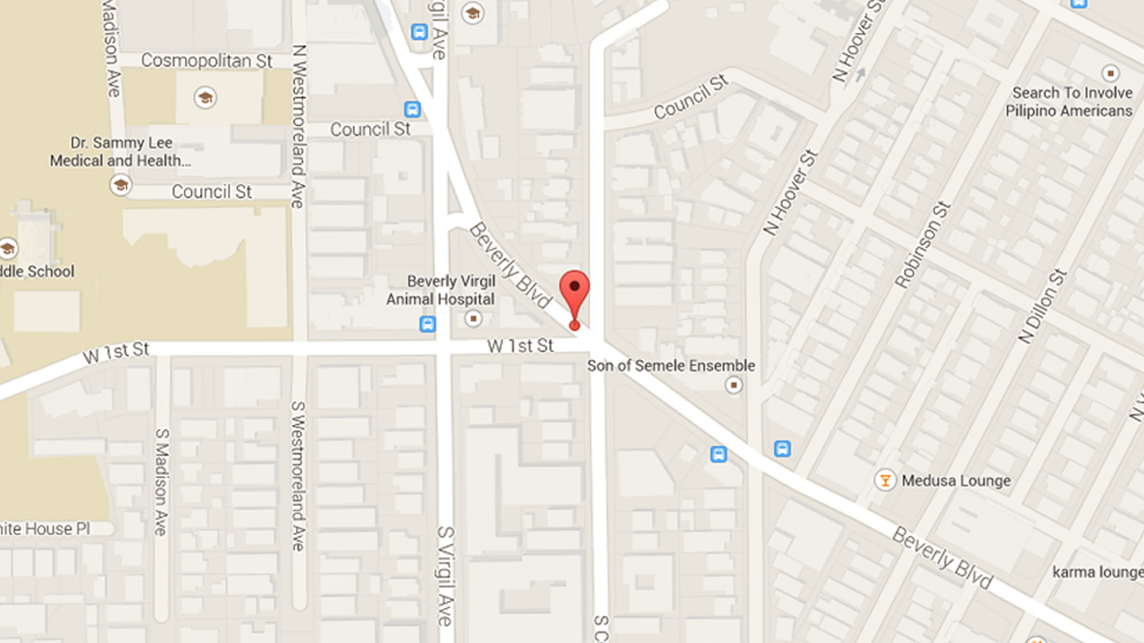 This Google map shows the location where a suspicious package was investigated by the Los Angeles County Sheriff's Department bomb squad on Wednesday, Jan. 7, 2015.