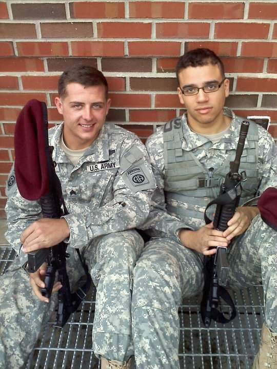 "<div class=""meta image-caption""><div class=""origin-logo origin-image none""><span>none</span></div><span class=""caption-text"">My husband, (left) Sgt. James Bossio. Served 8 years in the infantry and did 3 tours. Now manages the new Starbucks in Wake Forest and heads the Armed Forces Network here locally. (Brooke Thompson Bossio)</span></div>"
