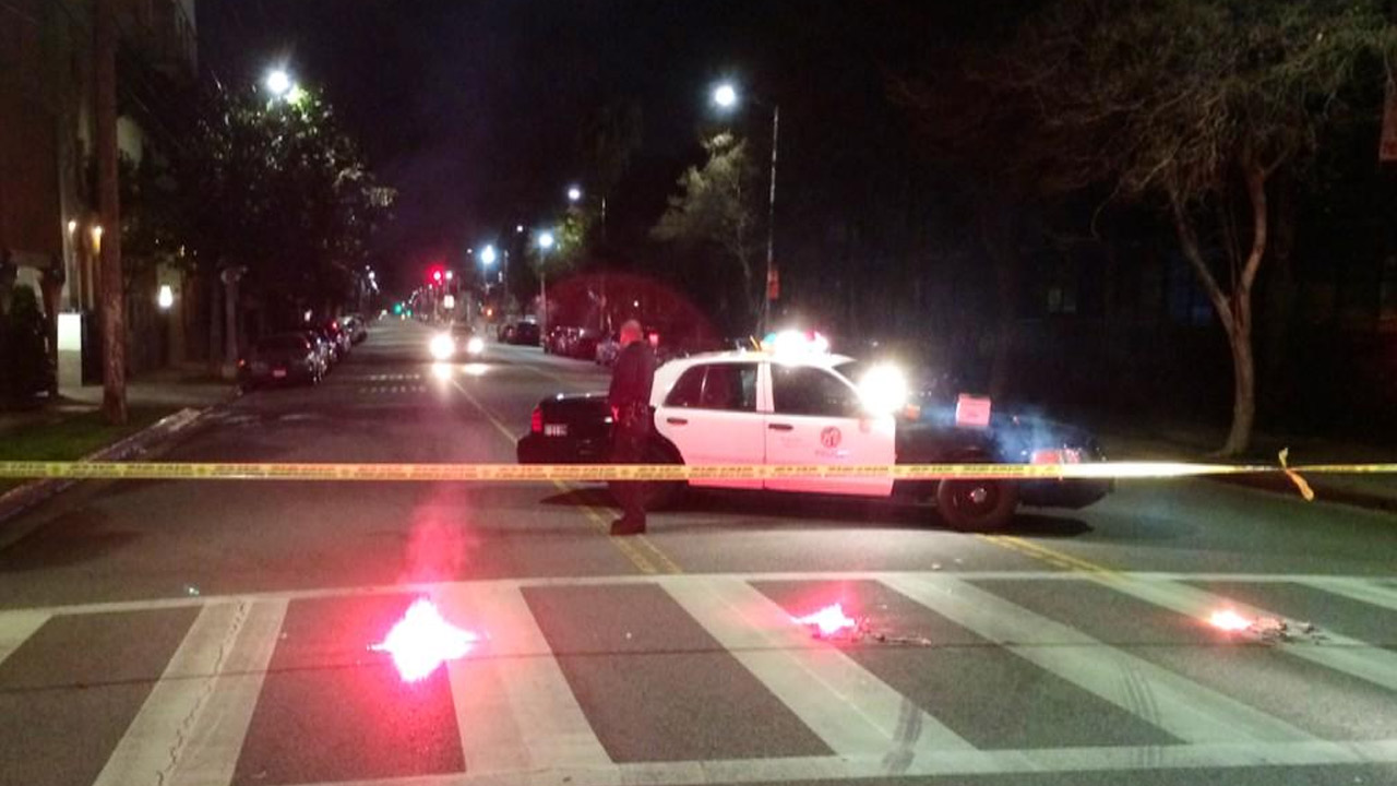 Police block off a street in Hollywood after a suspicious device was reported near Santa Monica Boulevard and Gower Street on Thursday, Jan. 8, 2015.