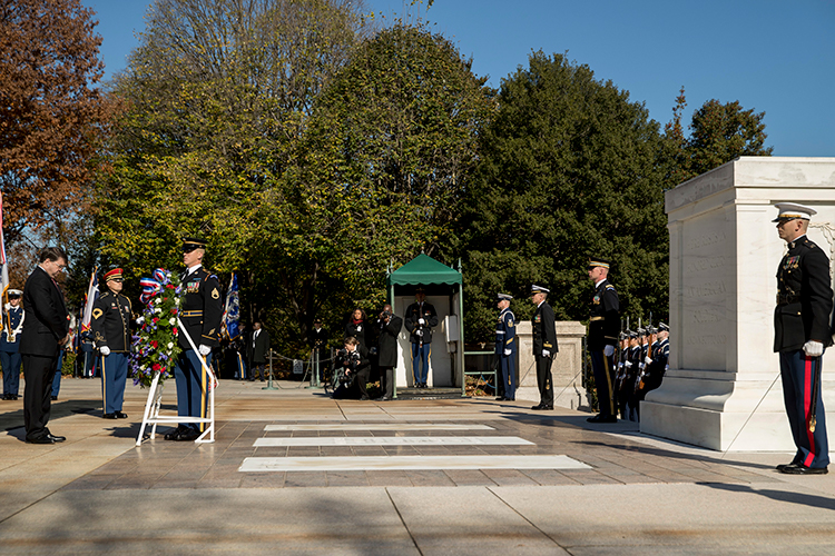 <div class='meta'><div class='origin-logo' data-origin='AP'></div><span class='caption-text' data-credit='(AP Photo/Andrew Harnik)'>Veterans Affairs Secretary Robert Wilkie, left, places a wreath at the Tomb of the Unknown Soldier during a ceremony at Arlington National Cemetery.</span></div>