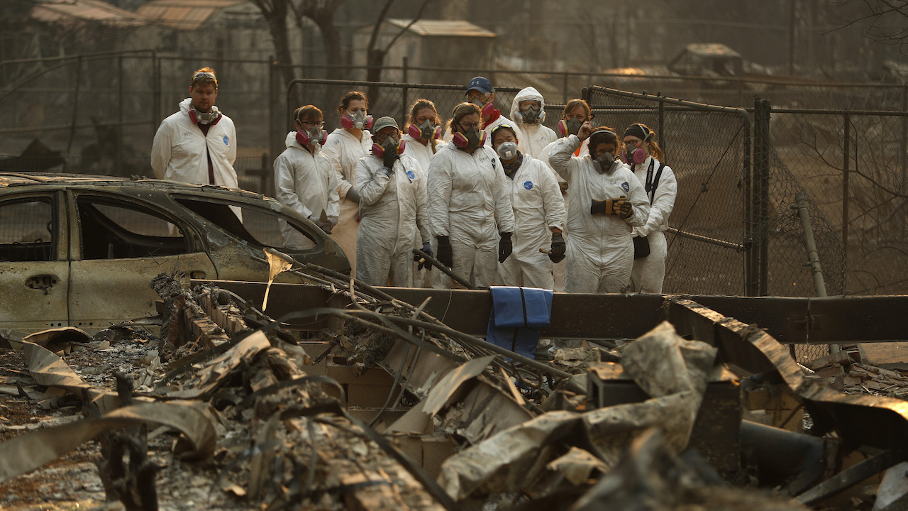 <div class='meta'><div class='origin-logo' data-origin='AP'></div><span class='caption-text' data-credit='AP Photo/John Locher'>Anthropology students observe as human remains are recovered from a burned-out home at the Camp Fire, Sunday, Nov. 11, 2018, in Paradise, Calif.</span></div>