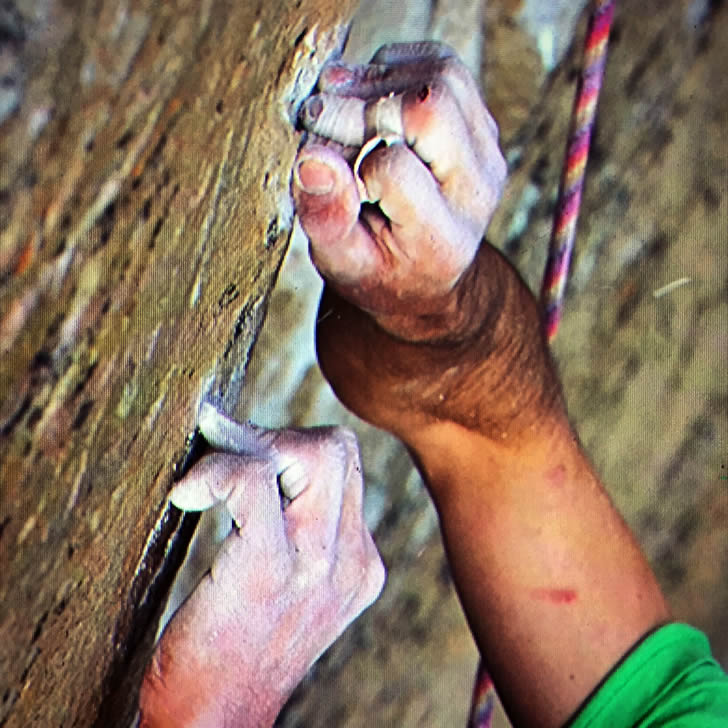 In this Jan. 5, 2015 photo provided by Tome Evans, Kevin Jorgeson grips the surface of the Razor Edge during a free climb of Yosemite's El Capitan. (AP Photo/Tom Evans, elcapreport)
