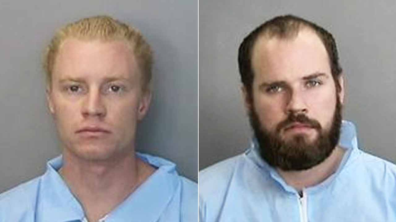Adam Stone, left, 28, and Ransom Cook, right, 24, appear in booking photos provided by the Anaheim Police Department.