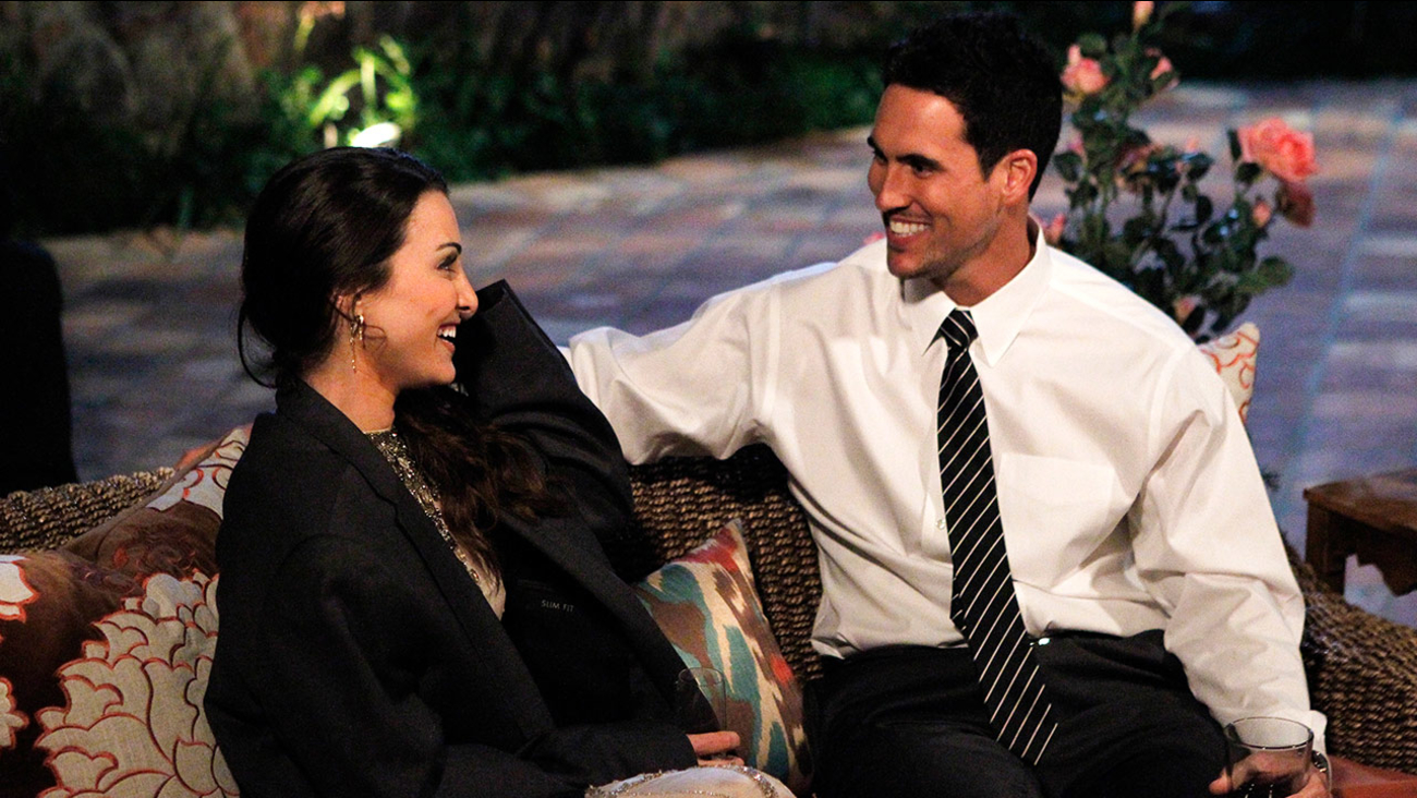 Josh Murray, right, talks with bachelorette Andi Dorman during filming for ABC's popular romance reality series, 'The Bachelorette,' in Agoura Hills, Calif.