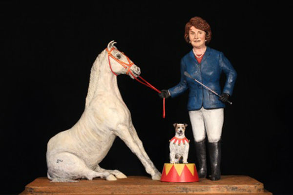 """<div class=""""meta image-caption""""><div class=""""origin-logo origin-image """"><span></span></div><span class=""""caption-text"""">A sculpture depicts U.S. Sen. Dianne Feinstein as she performs in the circus. It features her horse, Middle Class, and her dog Wonky. (Laura Harling)</span></div>"""