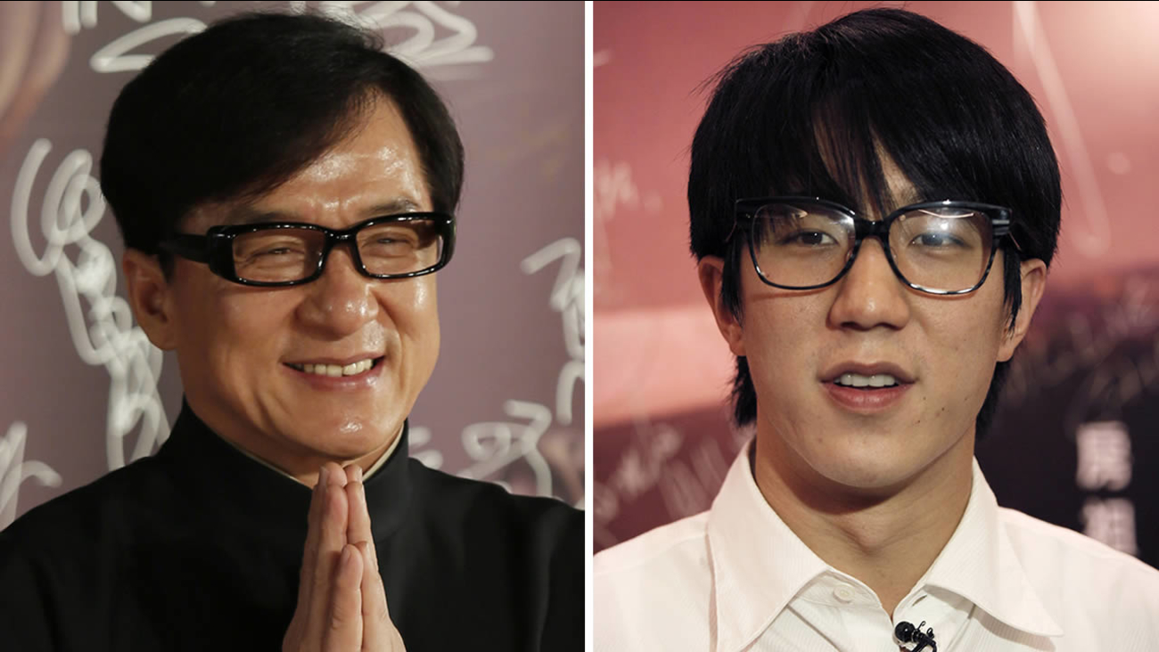 Hong Kong movie star Jackie Chan (left), and his son Jaycee Chan (right).