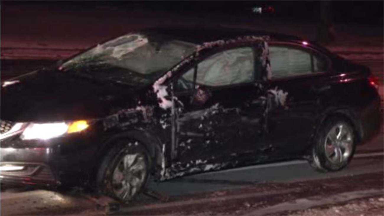 Driver injured after car hits ice and crashes in Bustleton