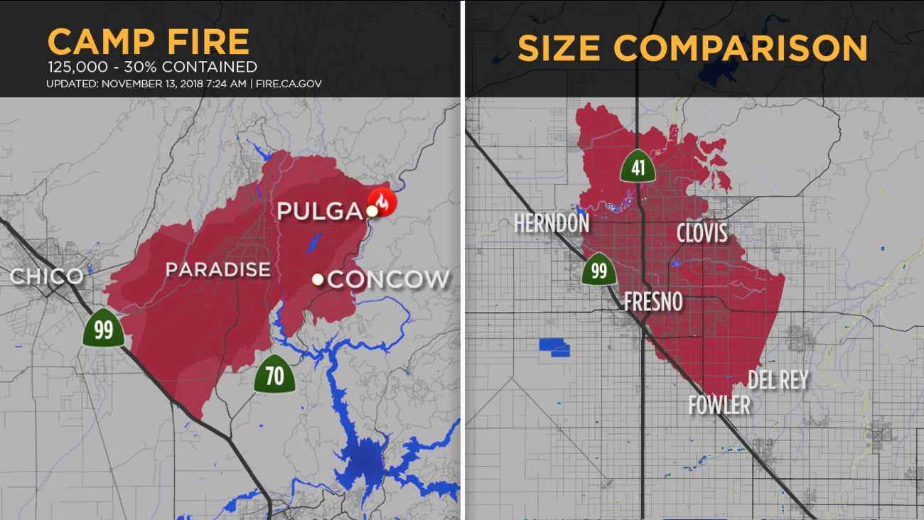 Camp Fire Map Update CAMP FIRE: Using Fresno to get perspective on extent of