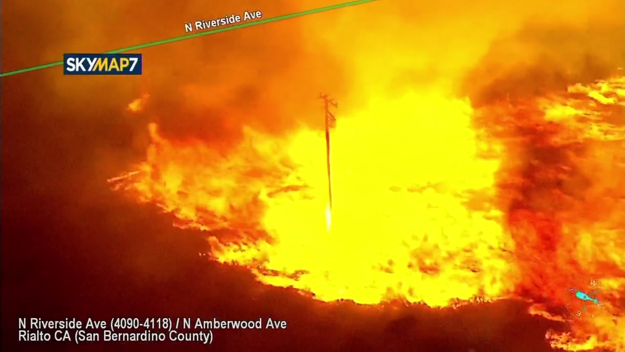 Fast Moving Brush Fire Erupts Near Freeway In San Bernardino County