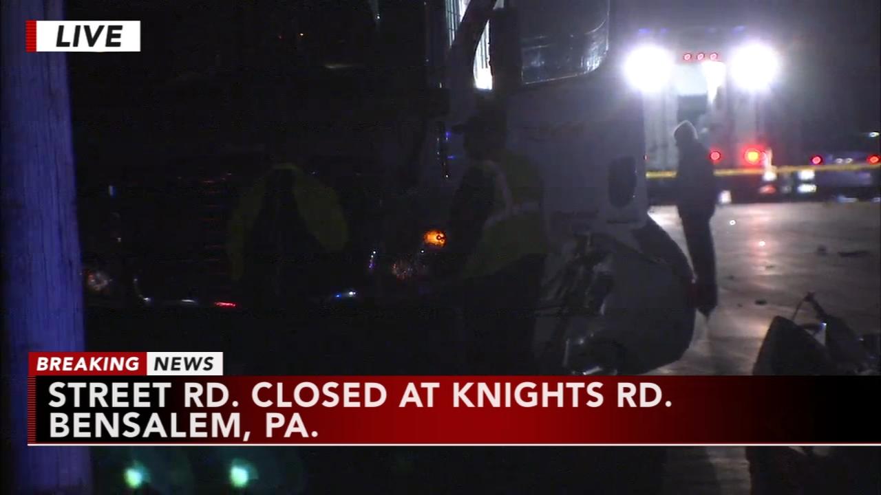 Collision causes delays on Street Road in Bensalem, Bucks County