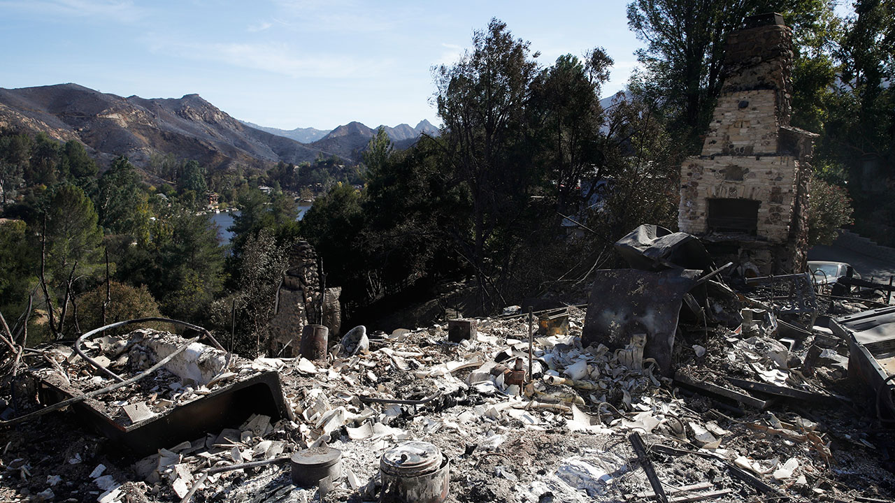 <div class='meta'><div class='origin-logo' data-origin='none'></div><span class='caption-text' data-credit='Jae C. Hong/AP Photo'>A home burned down by the Woolsey Fire sits on a hilltop overlooking the Santa Monica Mountains, Tuesday, Nov. 13, 2018, in Agoura Hills, Calif.</span></div>