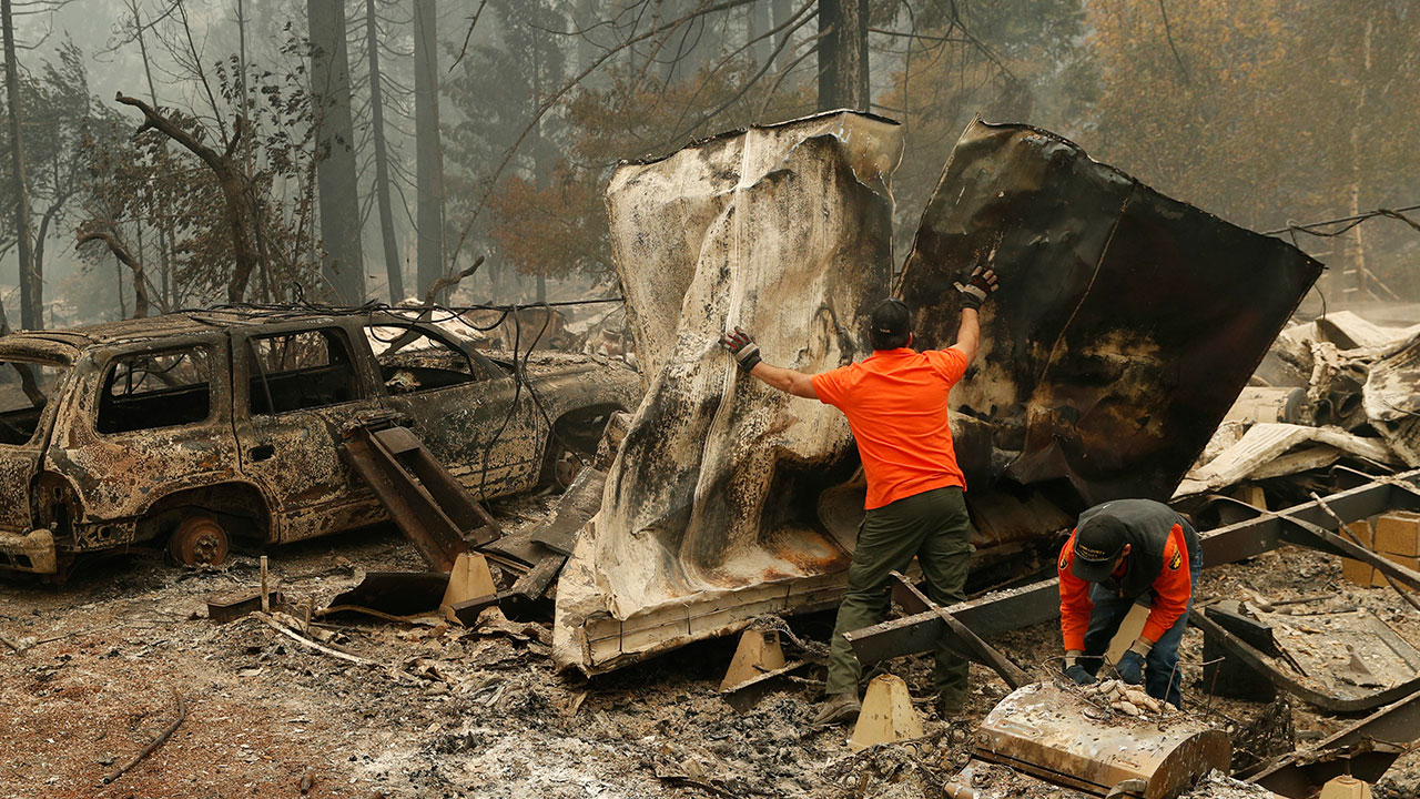 <div class='meta'><div class='origin-logo' data-origin='none'></div><span class='caption-text' data-credit='John Locher/AP Photo'>Search and rescue workers search for human remains at a burned out trailer park from the Camp fire, Tuesday, Nov. 13, 2018, in Paradise, Calif.</span></div>