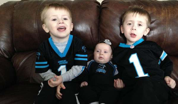 "<div class=""meta image-caption""><div class=""origin-logo origin-image ""><span></span></div><span class=""caption-text"">""Here's a picture of Hunter, Paisley and Chase cheering the Panthers to victory last weekend! Chase and Hunter are huge Cam Newton fans!"" (Chrissy Nolan/iWitness photo)</span></div>"