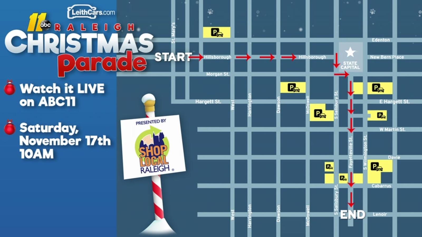 Raleigh Christmas Parade Route 2019 Raleigh Christmas Parade Route Map   abc11.com