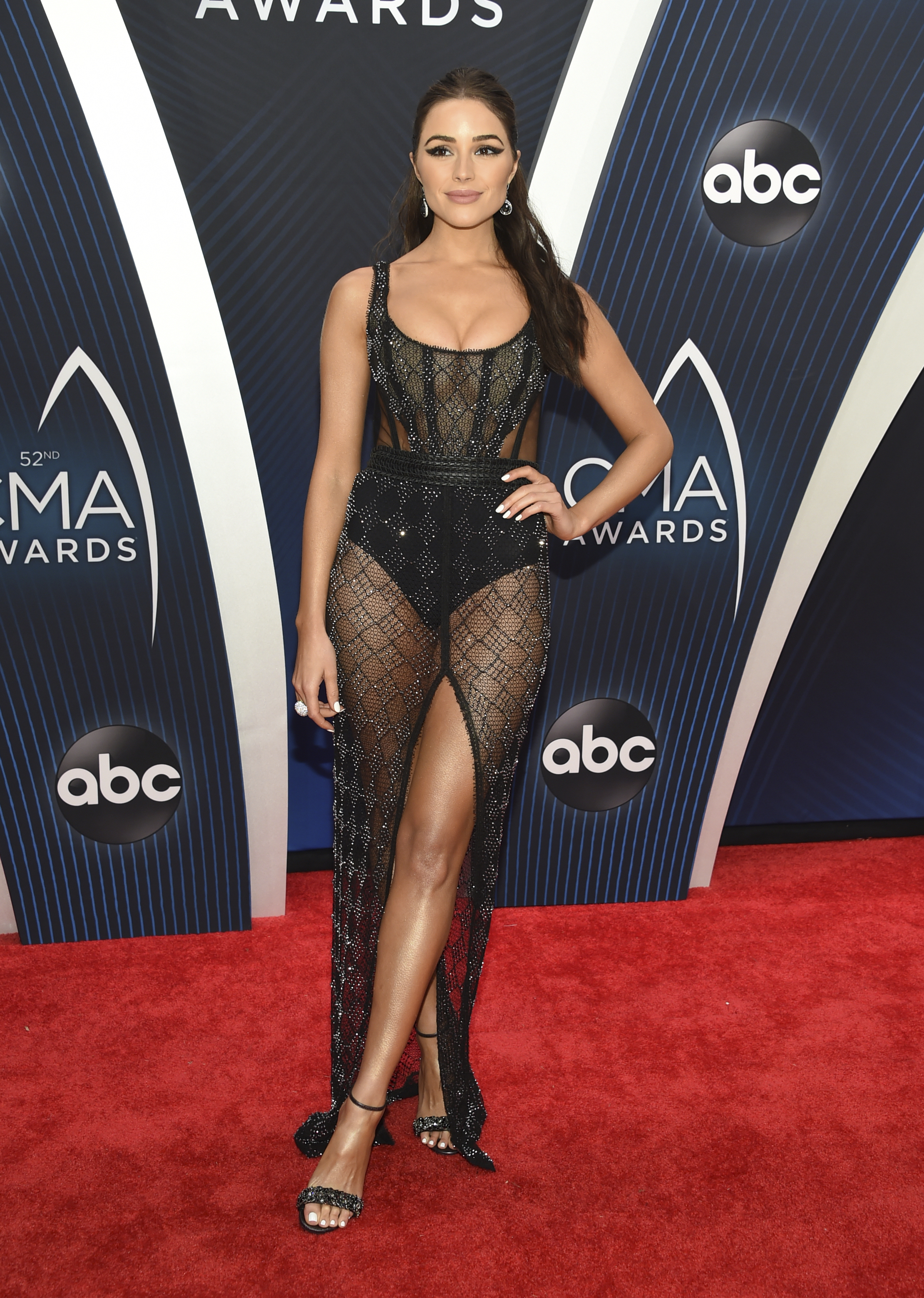 "<div class=""meta image-caption""><div class=""origin-logo origin-image ap""><span>AP</span></div><span class=""caption-text"">Olivia Culpo arrives at the 52nd annual CMA Awards at Bridgestone Arena on Wednesday, Nov. 14, 2018, in Nashville, Tenn. (Photo by Evan Agostini/Invision/AP) (Evan Agostini/Invision/AP)</span></div>"