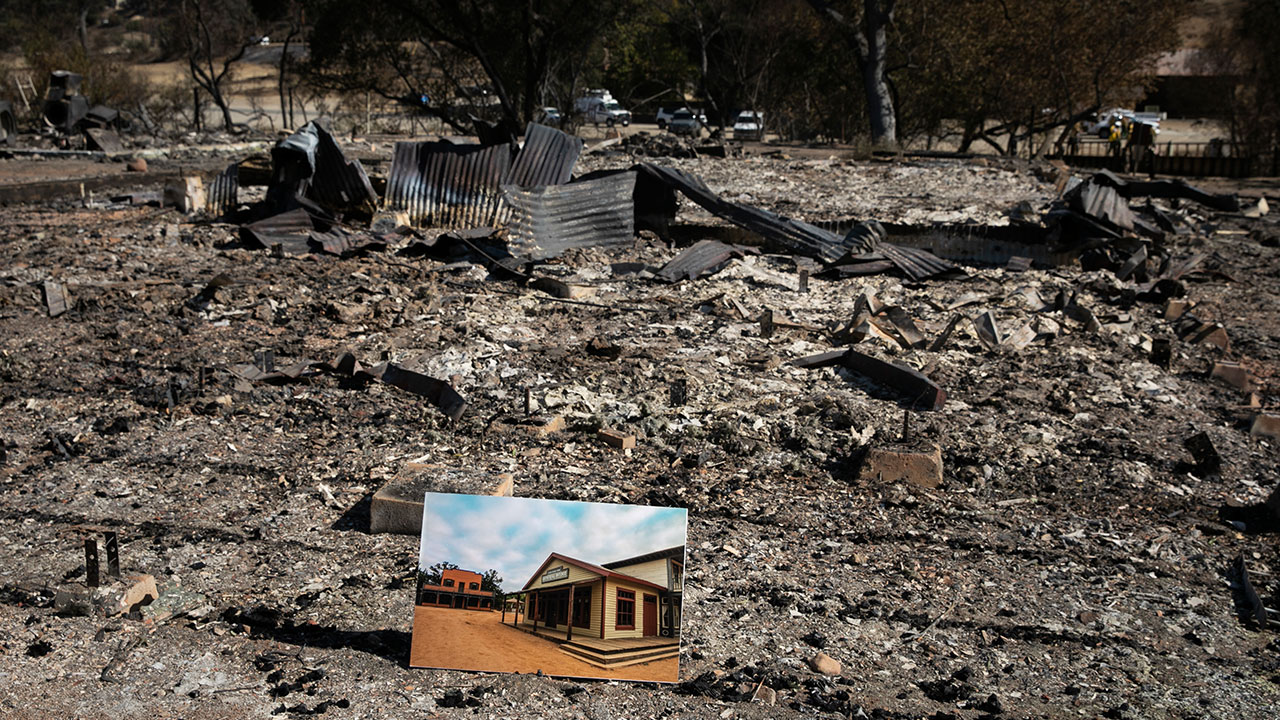 <div class='meta'><div class='origin-logo' data-origin='none'></div><span class='caption-text' data-credit='Jae C. Hong/AP Photo'>A before photo is placed on the remains of a building leveled in the Woolsey Fire at decimated Paramount Ranch on Thursday, Nov. 15, 2018, in Agoura Hills, Calif.</span></div>