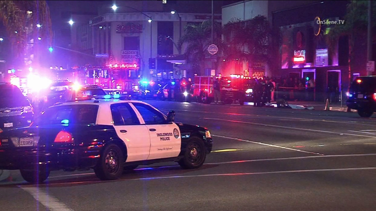 Inglewood police respond to the scene of a fatal shooting outside the Savoy Entertainment Center in the 200 block of South La Brea Avenue Saturday, Jan. 10, 2015.